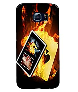 Fuson Fire Cards Back Case Cover for SAMSUNG GALAXY S6 - D3807