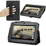 Evecase SlimBook Leather HandStrap Folio Stand Case Cover for Acer Iconia B1-710 - 7'' Android Tablet - Black