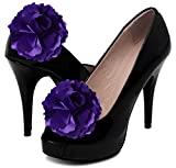 Purple Satin Shoe Clip Flowers