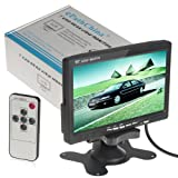 "7"" TFT LCD Color 2 Video Input Car RearView Headrest Monitor DVD VCR Monitor With Remote and Stand & Support Rotating The Screen"