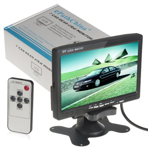 """7"""" Tft Lcd Color 2 Video Input Car Rearview Headrest Monitor Dvd Vcr Monitor With Remote And Stand & Support Rotating The Screen"""