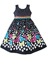 Girls Dress Navy Blue Butterfly Patry Princess Child Clothes Size 4-12
