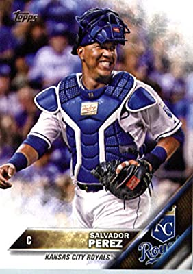 2016 Topps #50 Salvador Perez Kansas City Royals Baseball Card in Protective Screwdown Display Case