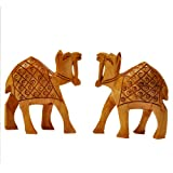 Jaipur Raga Hand Carved Wooden Camel Pair Handicraft Gift Wooden Handicraft