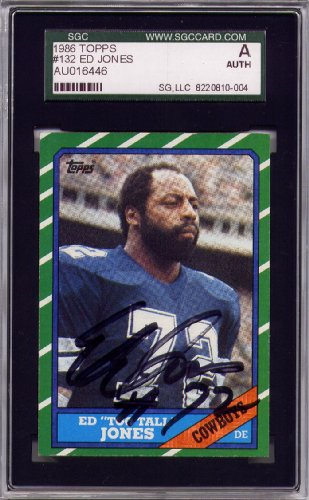 "Ed ""Too Tall"" Jones Dallas Cowboys SGC Certified Authentic Autograph - 1986 Topps (Autographed Football Cards) at Amazon.com"