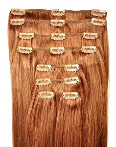 FULL HEAD of 100% Human Hair, Clip-in Hair Extensions - 18 inch, Deluxe, Quality A Remy Hair. GREAT VALUE, 125 grams of remy hair per set (135 grams set weight) - TRIPLE WEFT.