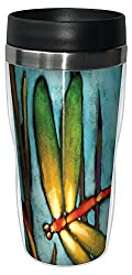 Tree-Free Greetings 77018 Beautiful Dragonfly Collectible Art Sip N Go Travel Tumbler 16-Ounce Stainless Steel Multicolored