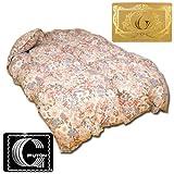 国産 羽毛 布団 シングル ポーランド産 ホワイト ダウン 90% ロイヤル ゴールド ラベル 6006柄 ピンク