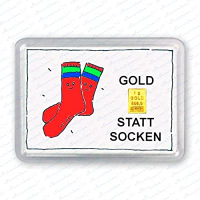 "Goldbarren 1g 1 Gramm Motivbox "" Statt Socken "" Gold Barren + Zertifikat von Securina24"
