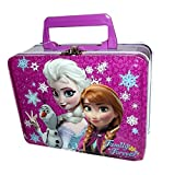 Disney Frozen Elsa, Anna & Olaf Small Purple Tin Lunch Box