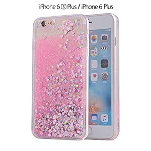 KC Unique Floating Hearts with Crystal Bling Liquid Glitter star Transparent Soft Sides Case iPhone 6s Plus back cover for girls