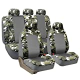 FH-FB108115 Camouflage Car Seat Covers, Airbag compatible and Split Bench, 2 Tone Light Camo