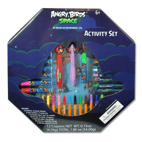 Angry Birds Space Activity Set with Markers, Mini Markers, Crayons, Poster, Stencils and Greeting Cards