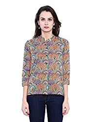 Fabindia Women's Body Blouse Shirt (10426058_Turquoise_Small)