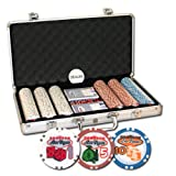 Set of 300 Welcome To Las Vegas Poker Chips w/Aluminum Case & Dealer Button
