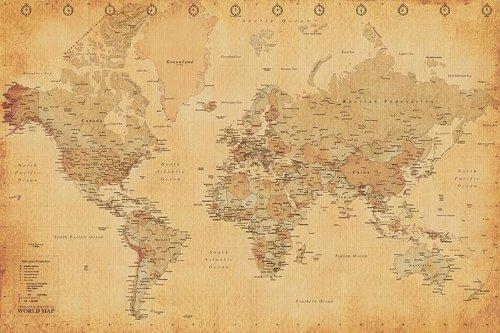 Weltkarte als Poster | Weltkarte im Vintage-Stil