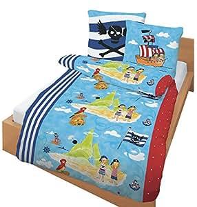 ido parure de lit en flanelle pour enfant avec petits chevaux le des pirates bleu marine. Black Bedroom Furniture Sets. Home Design Ideas