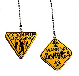 Plastic ZOMBIE crossing Warning Sign Ceiling FAN PULL light chain - set of TWO