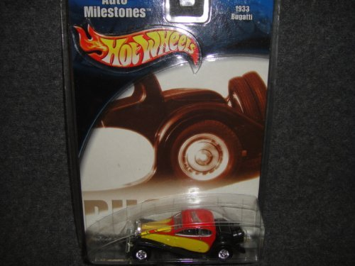 HOT WHEELS AUTO MILESTONES YELLOW AND RED 1933 BUGATTI DIE-CAST COLLECTIBLE