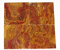 4x4 Multi Red Onyx Subway Brick Polished Tiles for Backsplash, Shower Walls, Bathroom Floors
