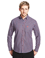 2in Longer Blue Harbour Supersoft Pure Cotton Twill Mini Checked Shirt