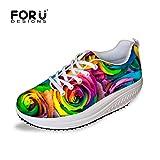 [FOR U DESIGNS]歩行姿勢調整 矯正靴 ダイエット レディース ガールズ ファッション 快適 Women's Shape Ups Walking Sneaker 花柄1