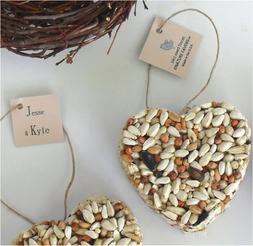 Bird Seed Heart Wedding Favors, Bridal Shower Favors, Centerpiece Favor Decorations, Free Personalized Tags (Qty. 12)