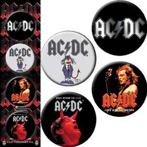 "AC/DC 4 Pieces Pezzi 4 Pieces Assorted assortito Logo Button pulsante Set BUTTON Set, Officially Licensed Products Classic Rock Assorted Artwork, Button Set - 1.25"" Each"