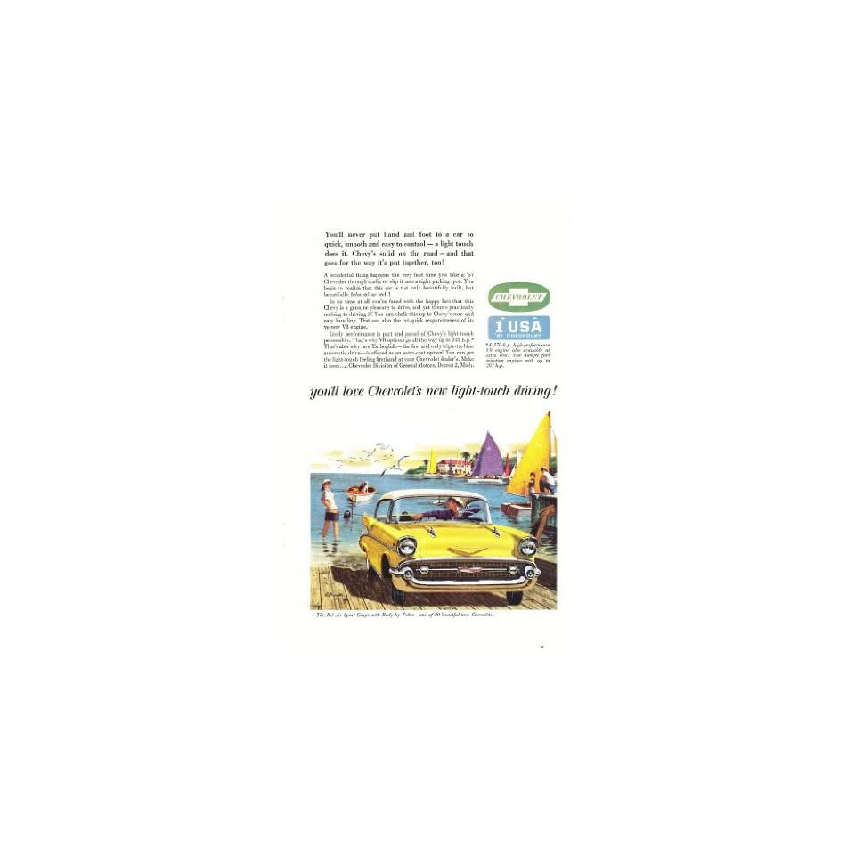 1957 Ad Chevy Bel Air Sport Coupe Yellow at Docks Original Car Print Ad