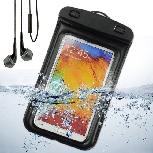 Sumaclife Waterproof Pouch Case For Samsung Galaxy Note 3 / Samsung Galaxy Note 2 / Galaxy S5 / S4 (Black) + Black Vangoddy Earphones With Mic