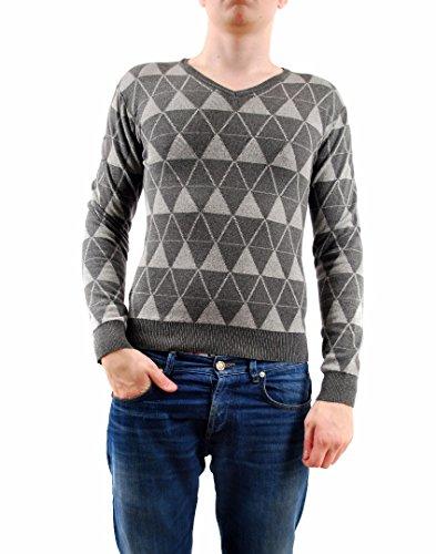 Eleven Paris Uomini Maglione con scollo a V Triangolo Dimensione stampa a maniche lunghe grigio scuro M