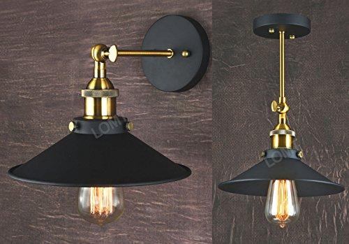 Lampada piegabile in metallo con applique a muro, in stile vintage industriale, applicabile al soffitto, colore: Bronzo con paralume Nero