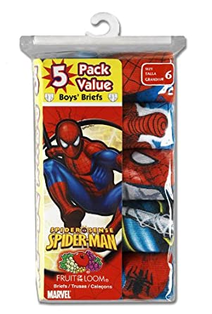 Fruit of the Loom Boys 2-7 5-Pack Spiderman Briefs Prints,Multi,4
