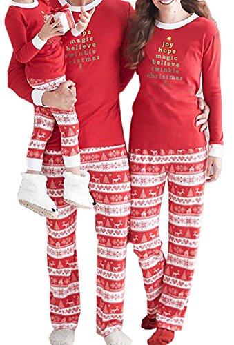 Faithtur Christmas Kids Mom Dad Matching Family Pajama Set One Top and One Pants (M, Mom)