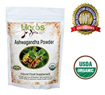 Herbs India - Ashwagandha Powder 16 Oz 1lb. 100% USDA Certified Organic.