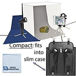 Photo Studio Kit for Smartphones with 2 Lights, Studio Box/Tent, 3 Background Colors (White, Grey, Blue), Slim Travel Case + eCostConnection Microfiber Cloth