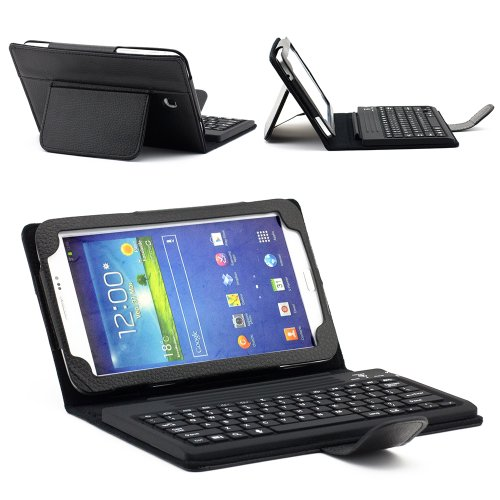 SUPERNIGHT Protective PU Leather Case Cover with Build-in Silicone Bluetooth Keyboard and Build-in Stand for Samsung Galaxy Tab 3 7.0 inch 7
