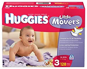 Huggies Little Movers, Size 3, 128 Count (Packaging May Vary)