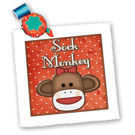 3dRose qs_102830_2 Cute Sock Monkey Girl with Text-Quilt Square, 6 by 6-Inch