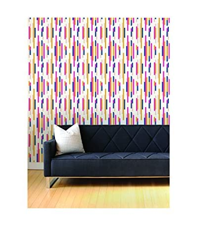 Tempaper Bars Removable Wallpaper, Pink/Blue/Yellow