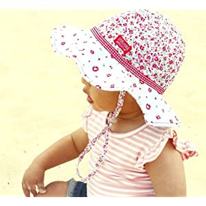 Girls Reversible Cotton Sun Hat Rosie Poise Floppy Hat, UPF50+