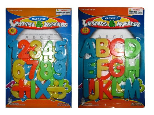 (2 Pack) Magnetic Learning Letters and Numbers, Total 52 Piece Set - 1