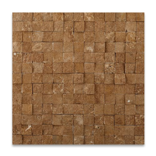 Noce 1X1 Travertine Split-face Mosaic Tile