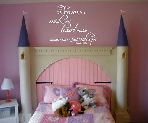 """Vinyl Lettering Design Creations A Dream Is A Wish Your Heart Makes When Your Fast Asleep~Cinderella-19""""H X 22""""W-Nursery Girls Room Vinyl Wall Decal Lettering Words Color-Violet"""