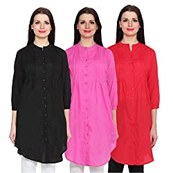 NumBrave Black, Pink & Red Long Cotton Top (Pack of 3)