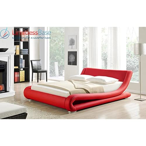 Modern Italian Designer Double Bed Upholstered in Faux Leather, Available in 2 Sizes and 6 Different Colours (...