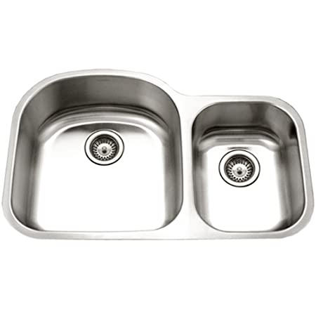 Houzer PNC-3200SR Eston Series Undermount 70/30 Double Bowl Kitchen Sink T-304 Stainless Steel
