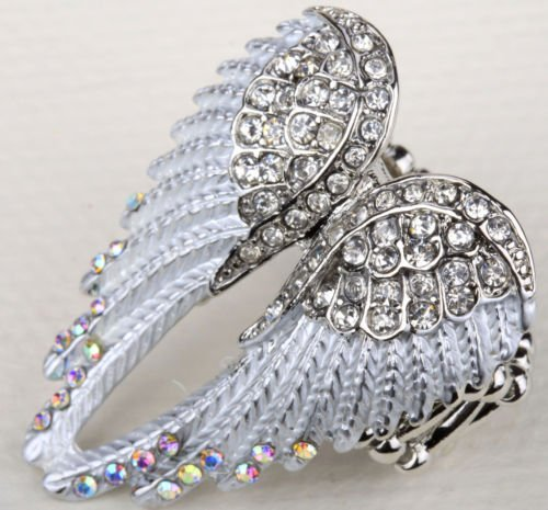 Sparkle Angel Wing Stretch Ring Crystal Silver White
