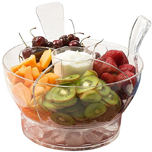 Perlli - Ice Chilled Serving Salad Bowl with Dome Lid and Serving Utensils - Includes 4-Way Divider, Dip Cup, Spacious Dome Lid, Shatterproof Acrylic, 6.5-Quart Capacity (Glass Vegetable Tray compare prices)