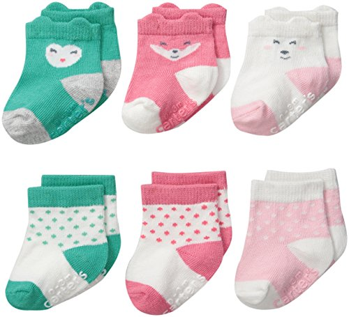 Carter's Baby-Girls Face Socks, Multi, 3-12/Medium Months (Pack of 6)